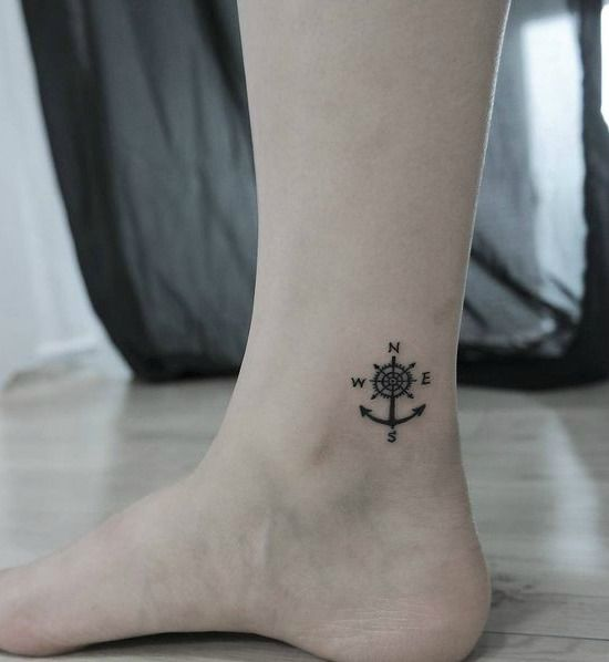 45 Beautiful Ankle Tattoos And Their Meanings You May Love To Try Ankle Tattoo For Girl Small Compass Tattoo Ankle Tattoos For Women