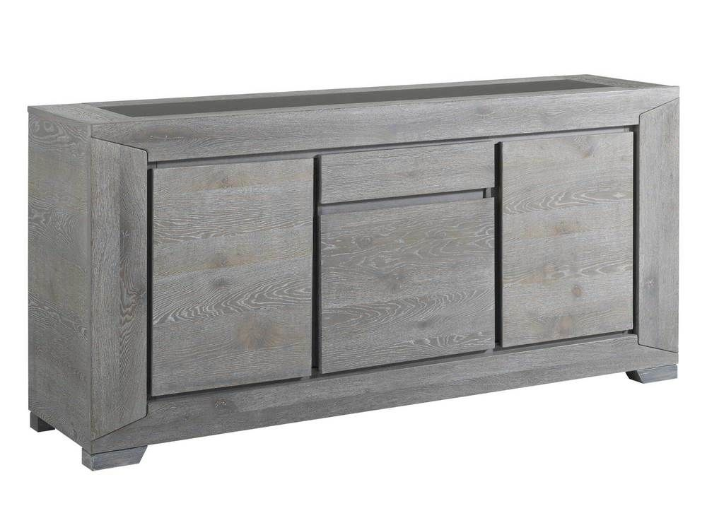 Buffet bas 3 portes + 1 tiroir bois BRUTS Gris - Delamaison Un - couleur des portes interieur