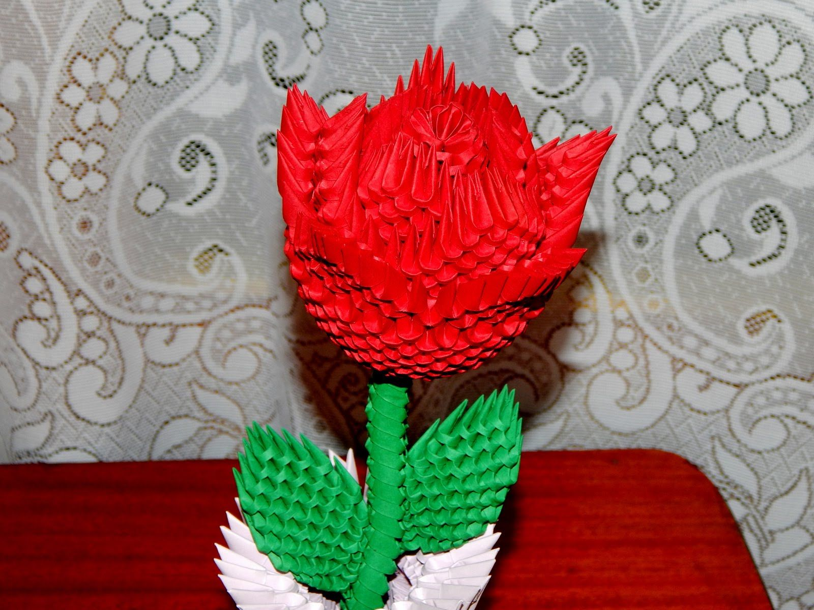 How to make 3d origami Rose part2