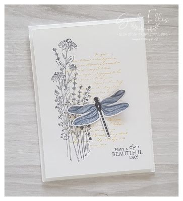 Dragonfly Garden Cards Blue Rose Paper Treasures: