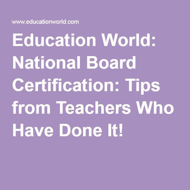 Education World National Board Certification Tips from Teachers - powerschool administrator sample resume