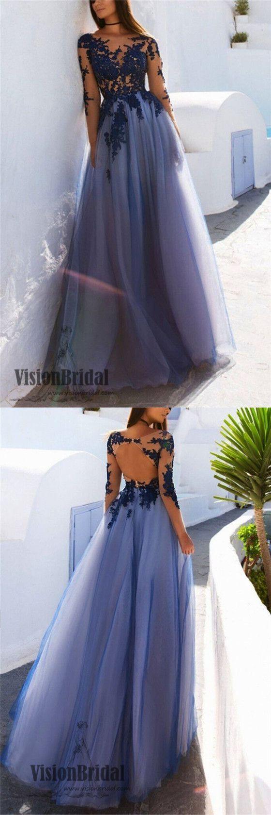 Scoop Neckline Long Sleeves Lace Yarn Top Prom Dress, Open Back A-Line Long Prom Dress, Prom ...