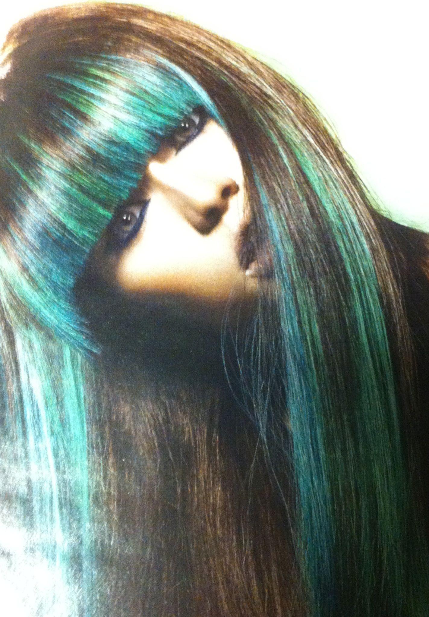 Green bangs hair pinterest bangs