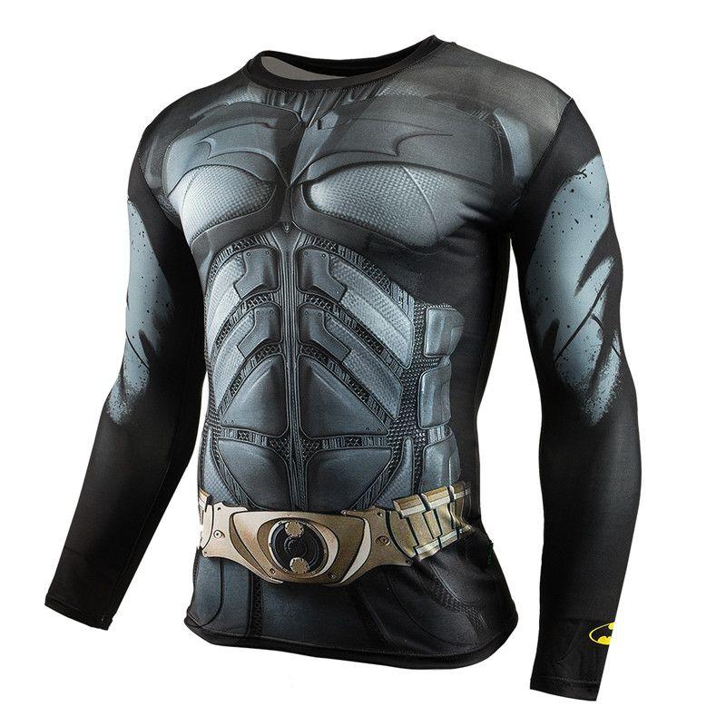 Mannen Crossfit Lange Mouwen Compressie Shirt 3D Anime Superhero Superman Captain America T-shirt Panty Fitness Mannen Tops & Tees