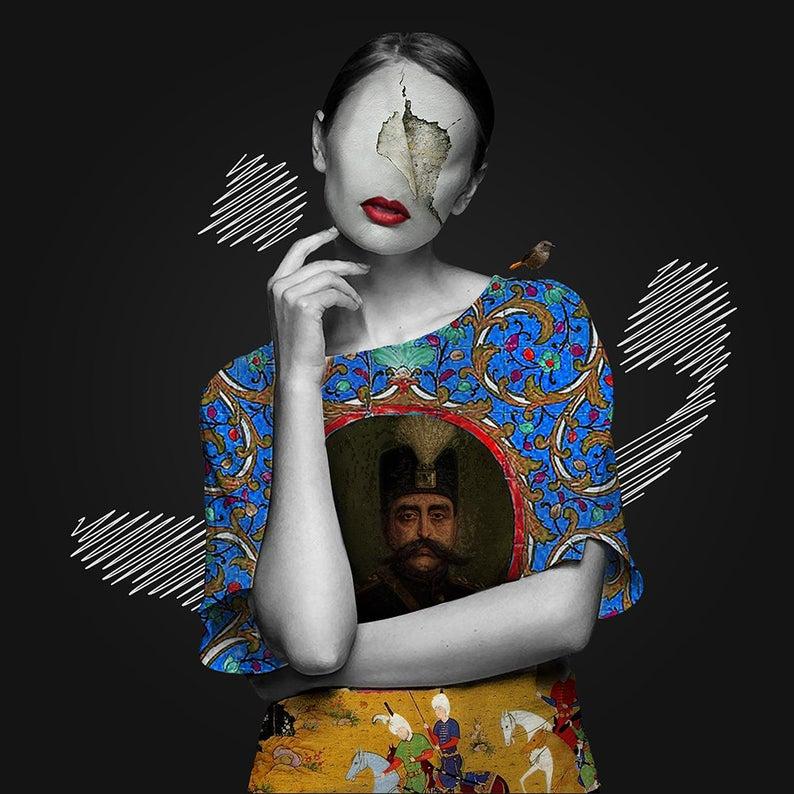 Girl With Persian Pattern Iran Art Qajar Dynasty Persian Wall Art Canvas Art Persian Home Decor Iranian Art Arabic Calligraphy Eastern Art Iranian Art Persian Art Painting Persian Calligraphy Art