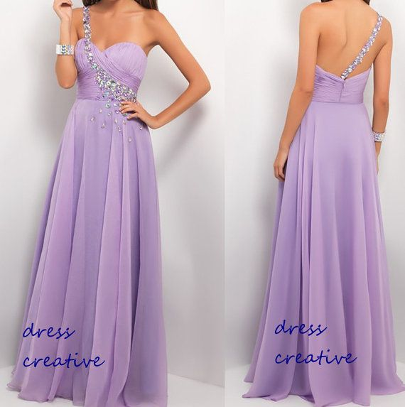One Shoulder Long/Floor Length Chiffon Prom Dress in Lilac Color ...
