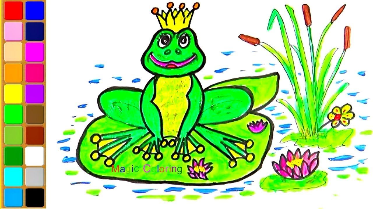 How To Draw A Frog Drawing And Coloring Cartoon Easy For Kids