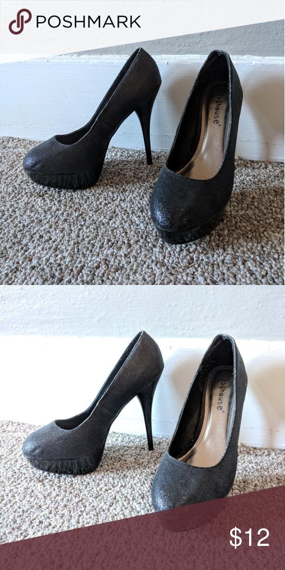8bbb78a541 Dollhouse glitter heels Black glittery heels