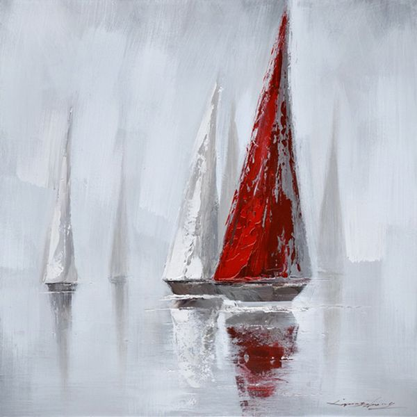 Tableau voilier rouge et blanc 31,5x31,5'