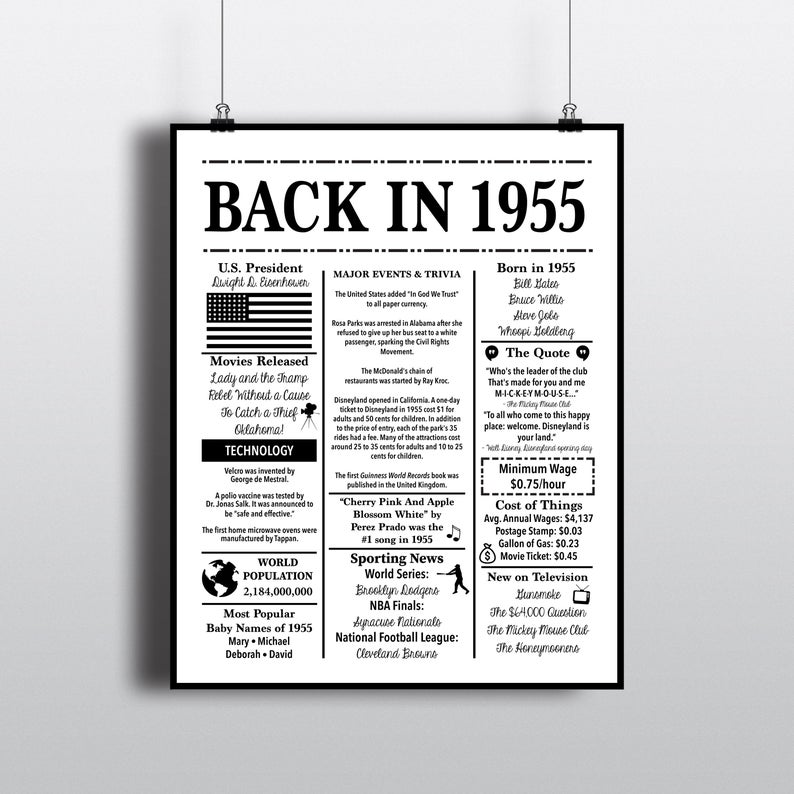 1955 Back In 1955 Black And White Poster Birthday 1955 Facts