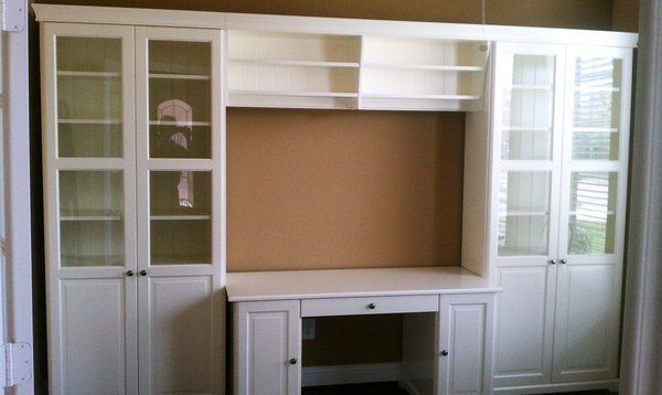 Perfect Size For My Living Room Hemnes Desk With Add On Hemnes Storage Unit With Bridge And Desk Yelp Ikea Built In Home Built In Bookcase