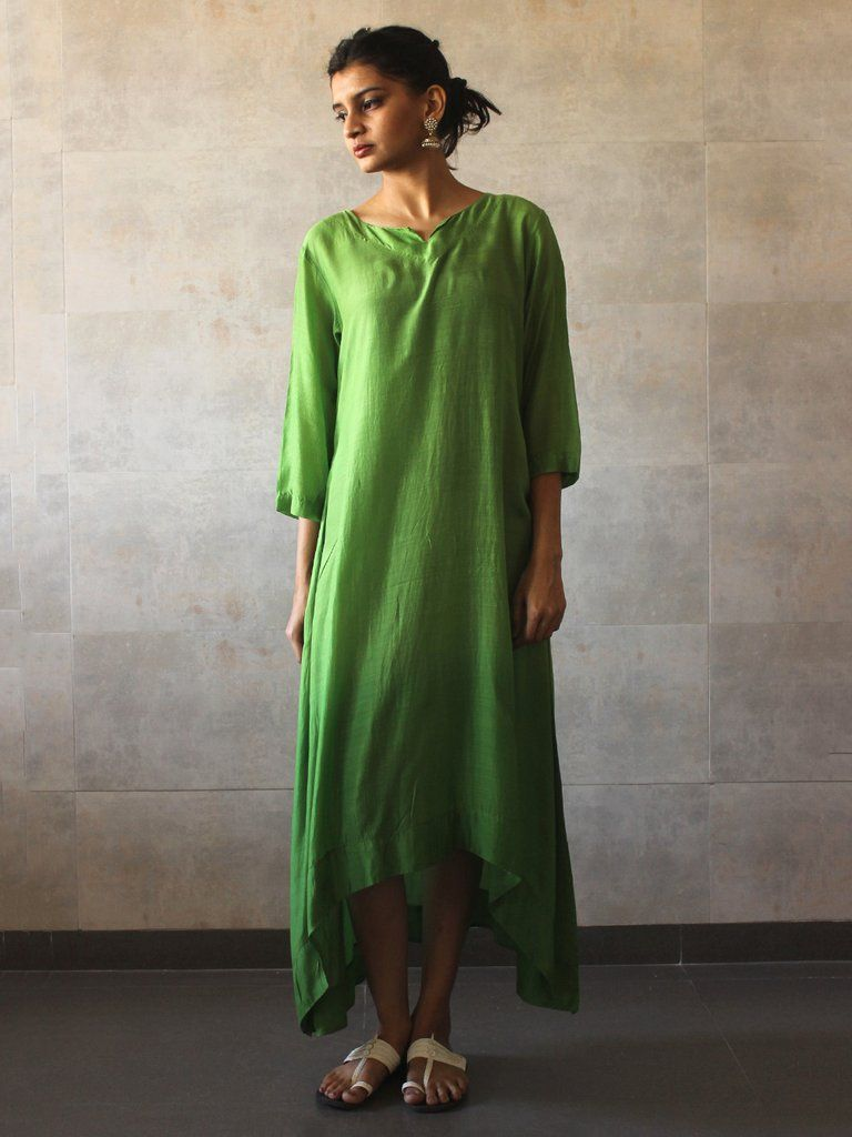 Green Ombre Silk Tunic