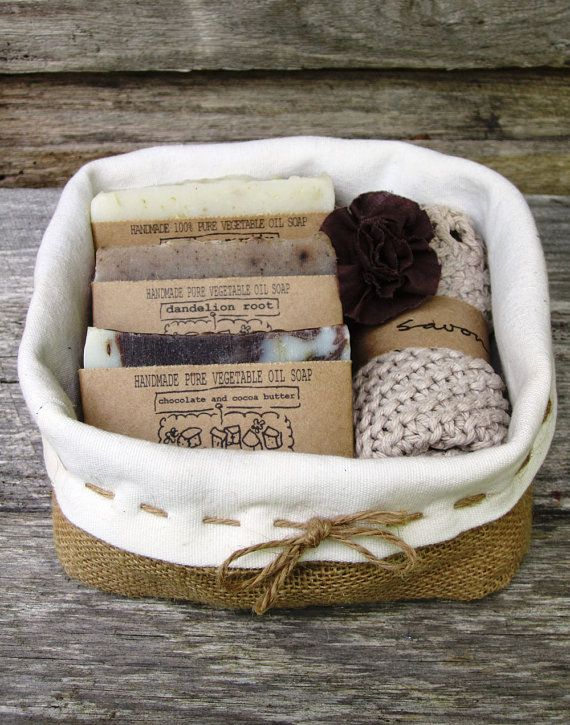 Love The Idea And Packaging Gift Pack Basket Soap Set Handmade All Natural Cold Process