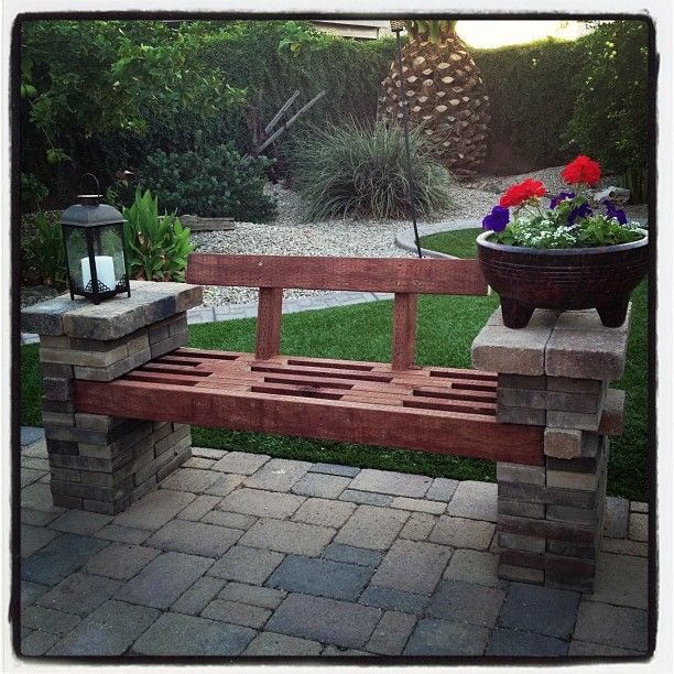 Bench made out of left-over patio pavers and a few 2x4's!