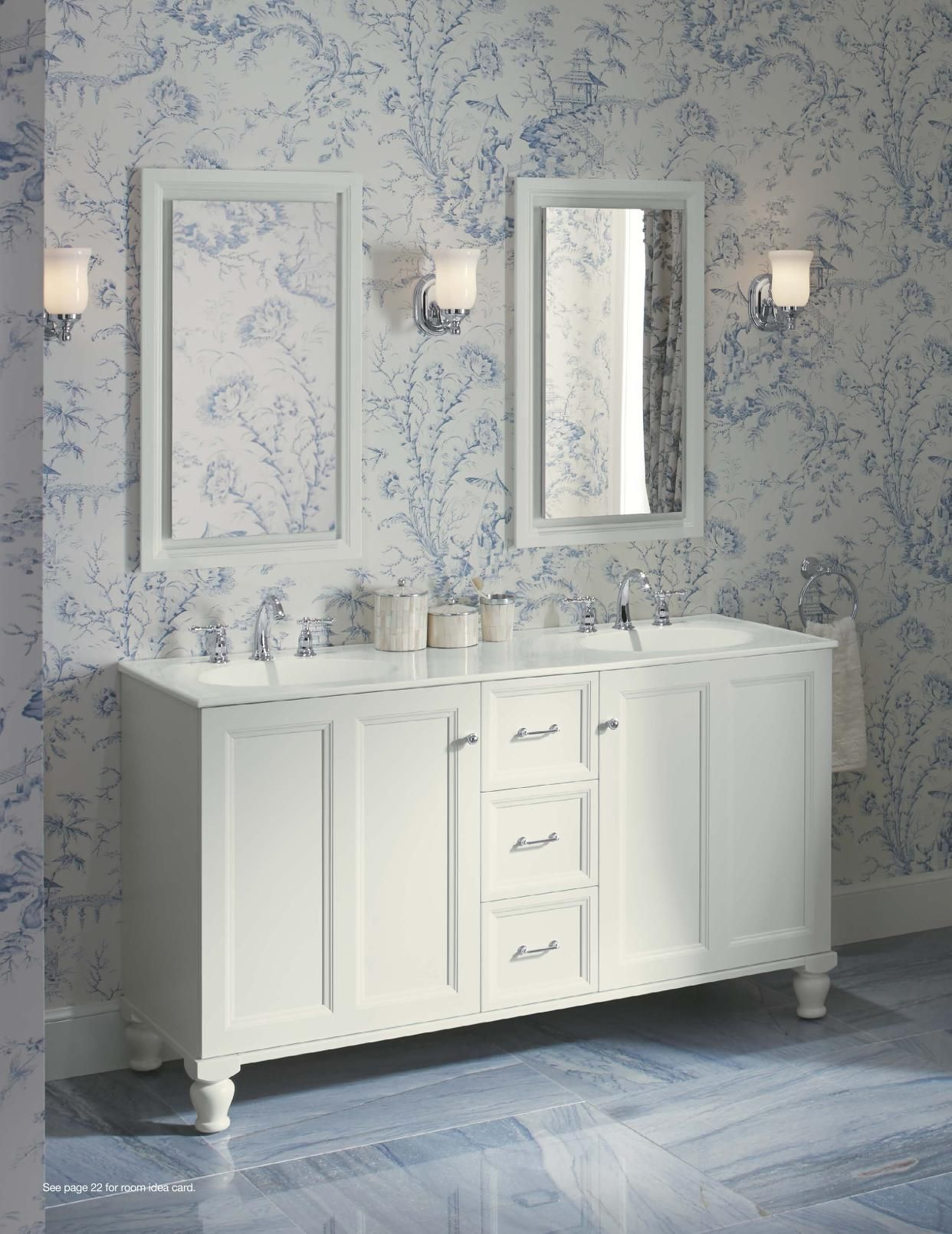Website Photo Gallery Examples Kohler Tailored Vanities featuring Scalamandre Pillement toile wallpaper