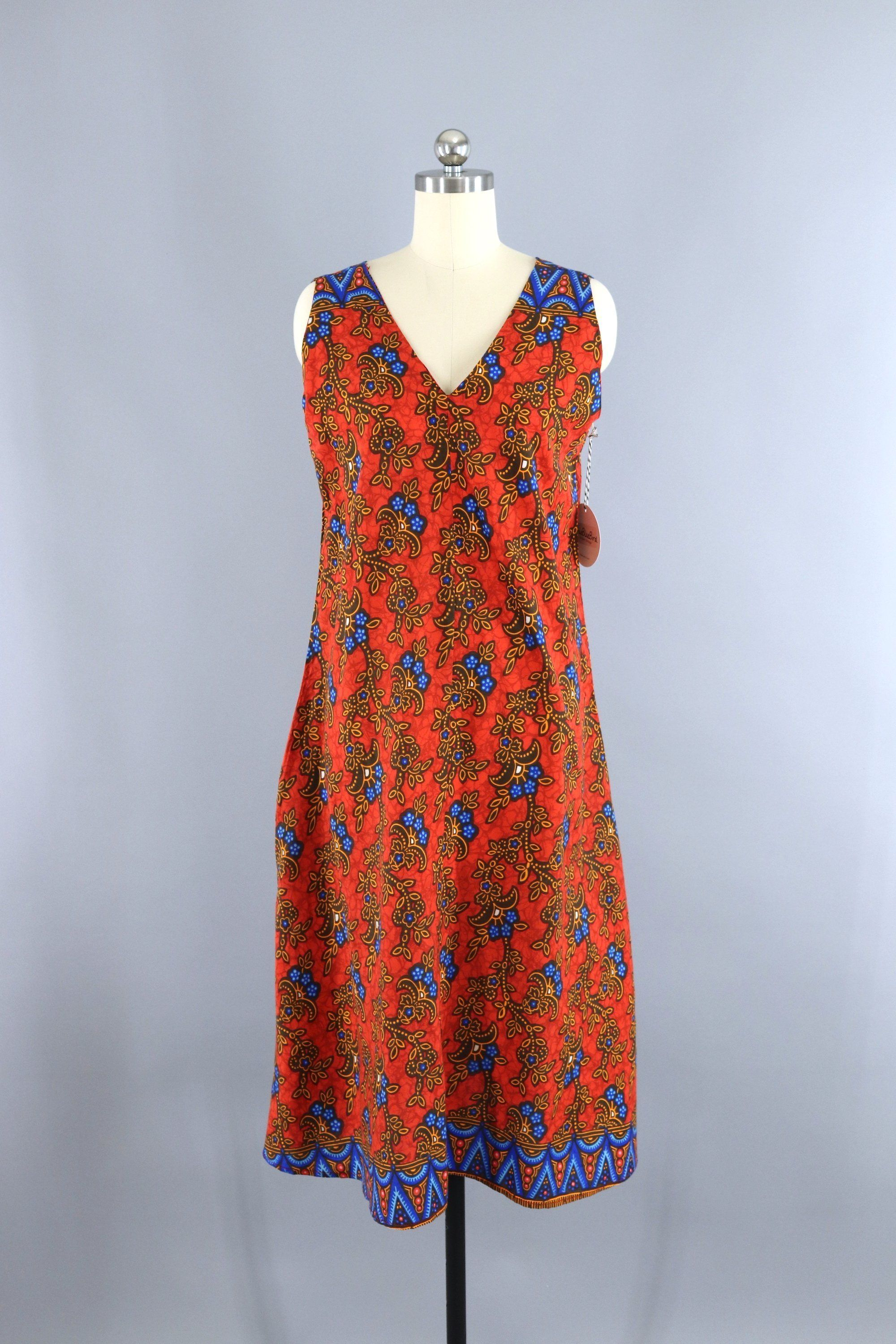 Vintage 1970s Kenya African Dress Orange Batik Print vintage shopvintage