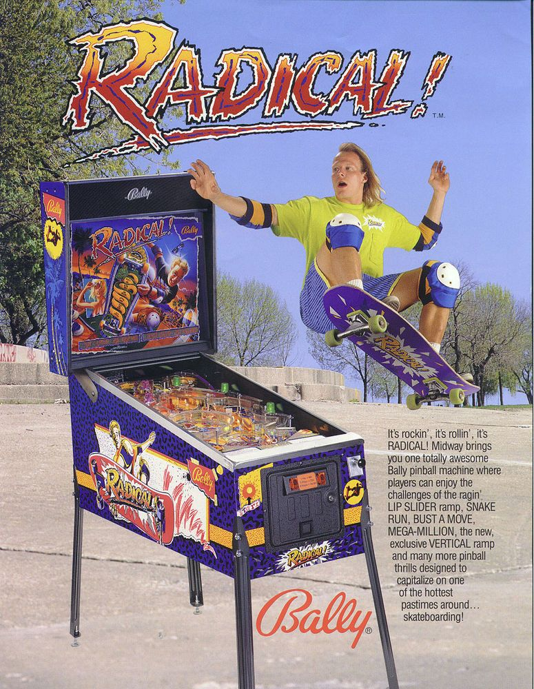 Bally RADICAL 1990 Original NOS Flipper Game Pinball Machine