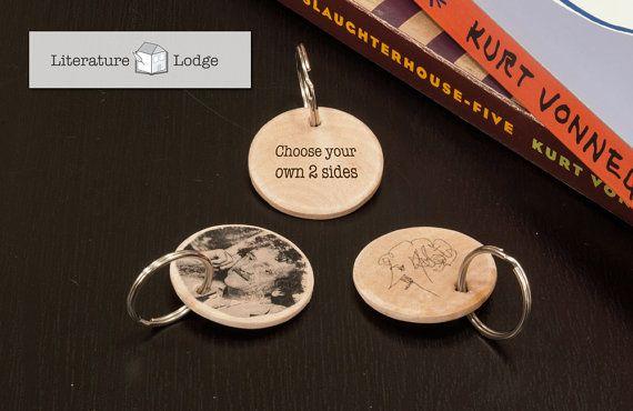 Custom Wood Keychain Kurt Vonnegut by LiteratureLodge on Etsy