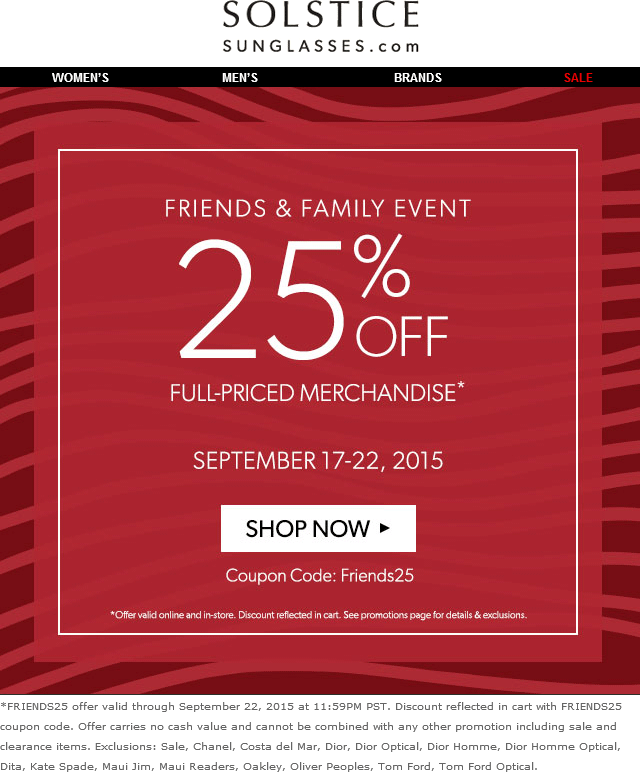 5a8c328056 Pinned September 20th  25% off at Solstice  Sunglasses or online via promo  code Friends25  coupon via The  Coupons App