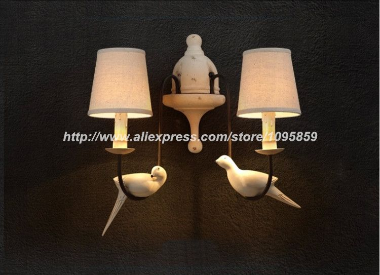 Modern Vintage 2 Heads White Color Bedroom Birds Wall Lamps Lights ...