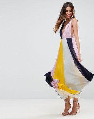 Colour block maxi dress Black