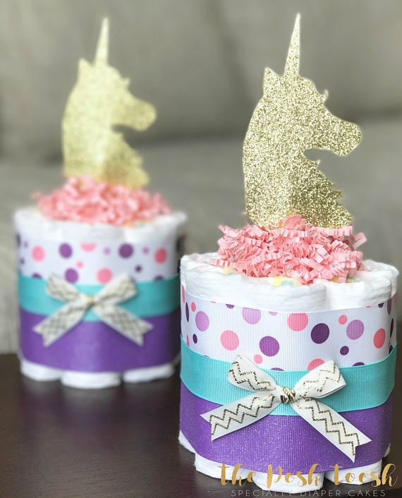 Girl Unicorn Diaper Cake Baby Shower Gift Baby Shower Centerpiece