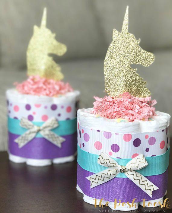 Baby Shower Unicorn ~ Girl unicorn diaper cake baby shower gift