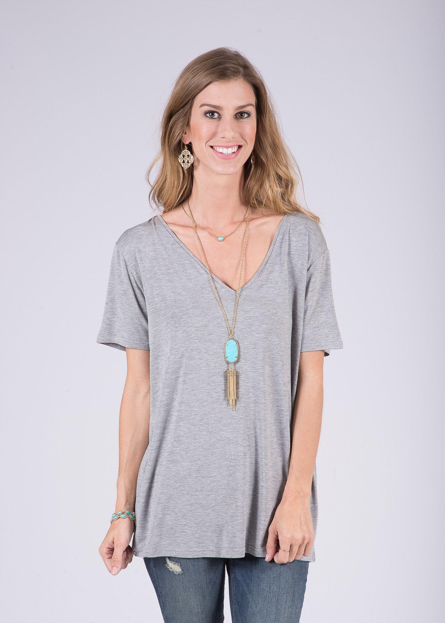 PIKO V-Neck Half-Sleeve 100% Bamboo Top - Heather Gray