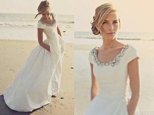 taffeta wedding dress bridal gown scoop neck cap sleeves beading crystal pockets floor length dress bridesmaid