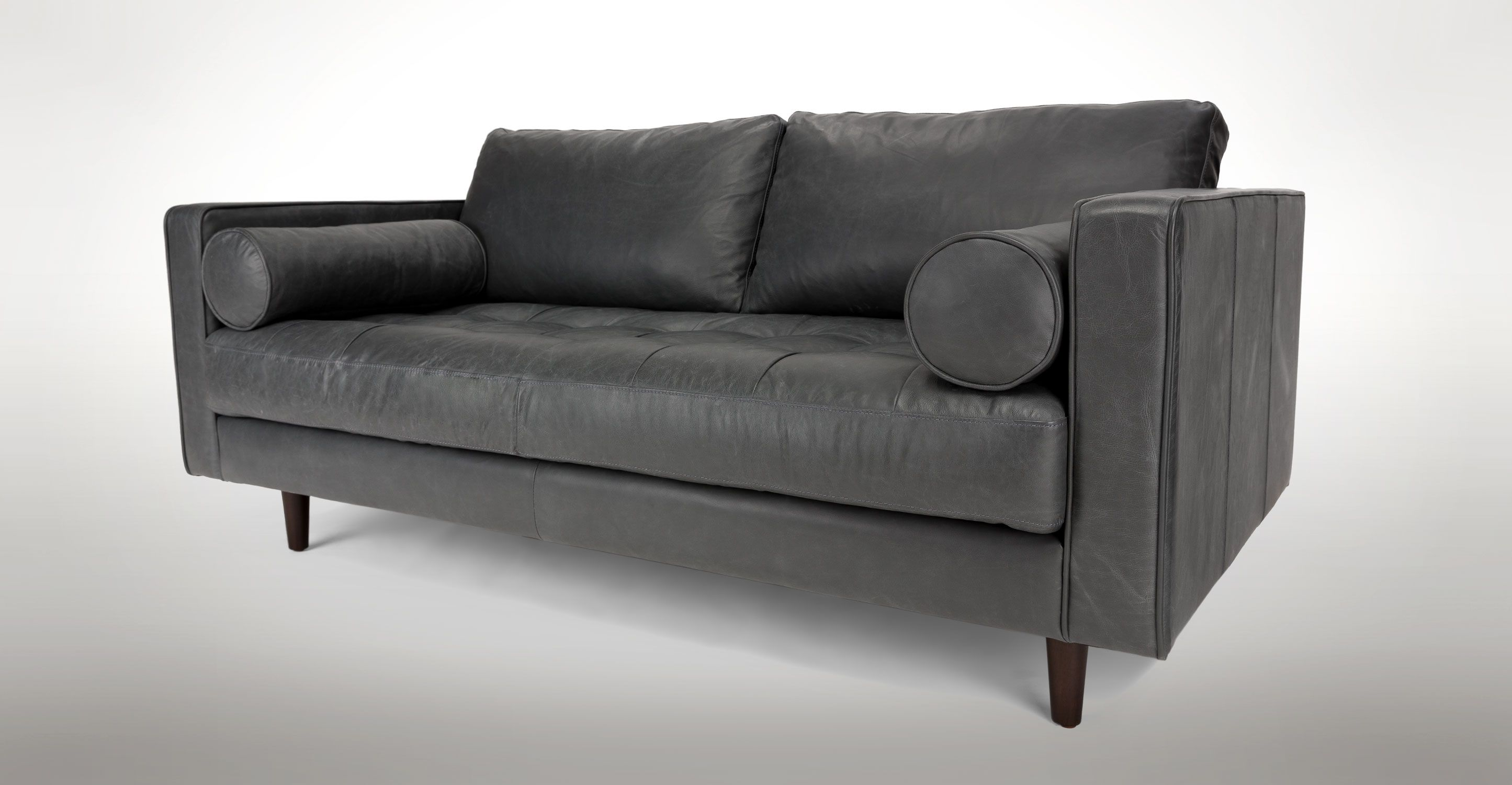 Gray Leather Tufted Sofa Upholstered