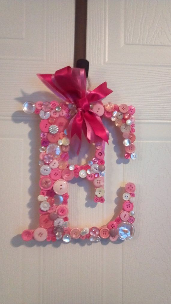 Initial Door Hanger With Vintage Buttons