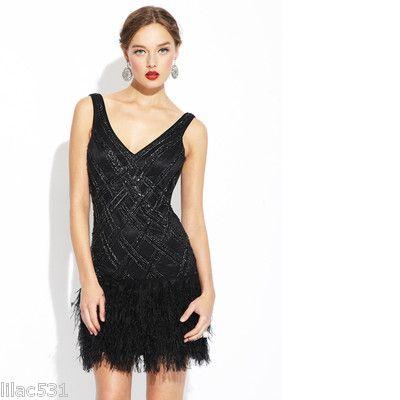 New Sue Wong V Neck Cocktail Ostrich Feather Dress Drop Waist Beaded Black 8 | eBay