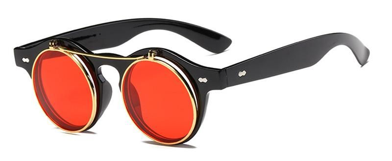 b801bdb3723 SHAUNA Classic Folding Punk Styles Women Round Sunglasses Retro Steampunk  Men Red Tinted Clear Lens