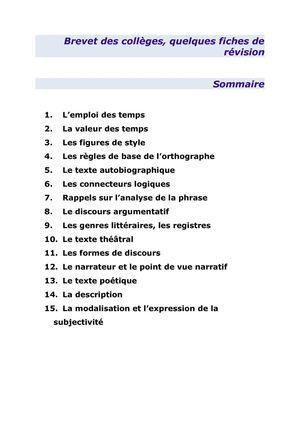15 Fiches Pour Reviser Le Francais Au Brevet Des Colleges Brevet Des Colleges Revision Brevet Francais Valeur Des Temps