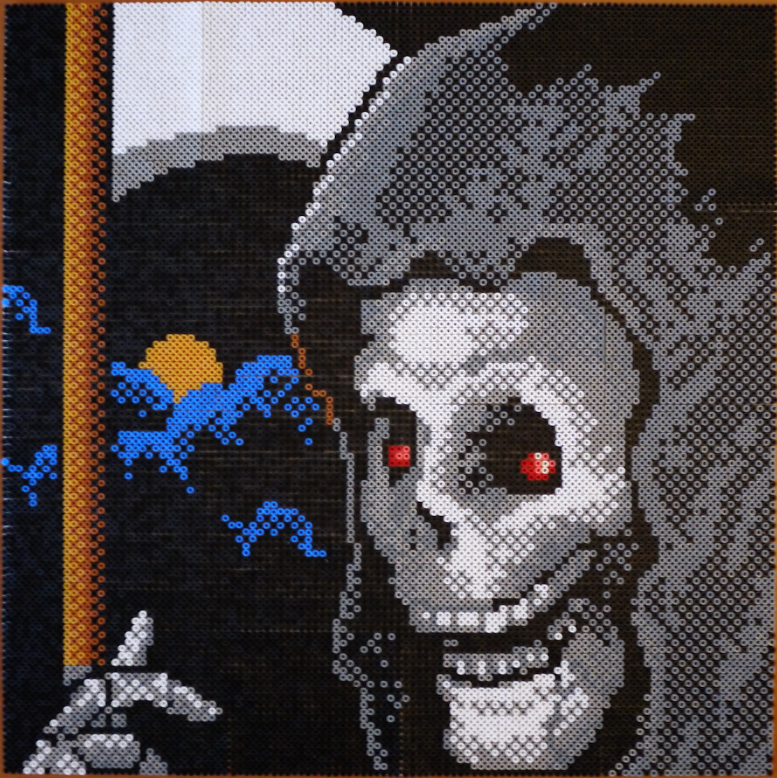 """IT'S A SAD THING THAT YOUR ADVENTURES HAVE ENDED HERE!! Unironed """"Shadowgate"""" Grim Reaper made with 12544 Hama and PhotoPearls beads - Imgur"""