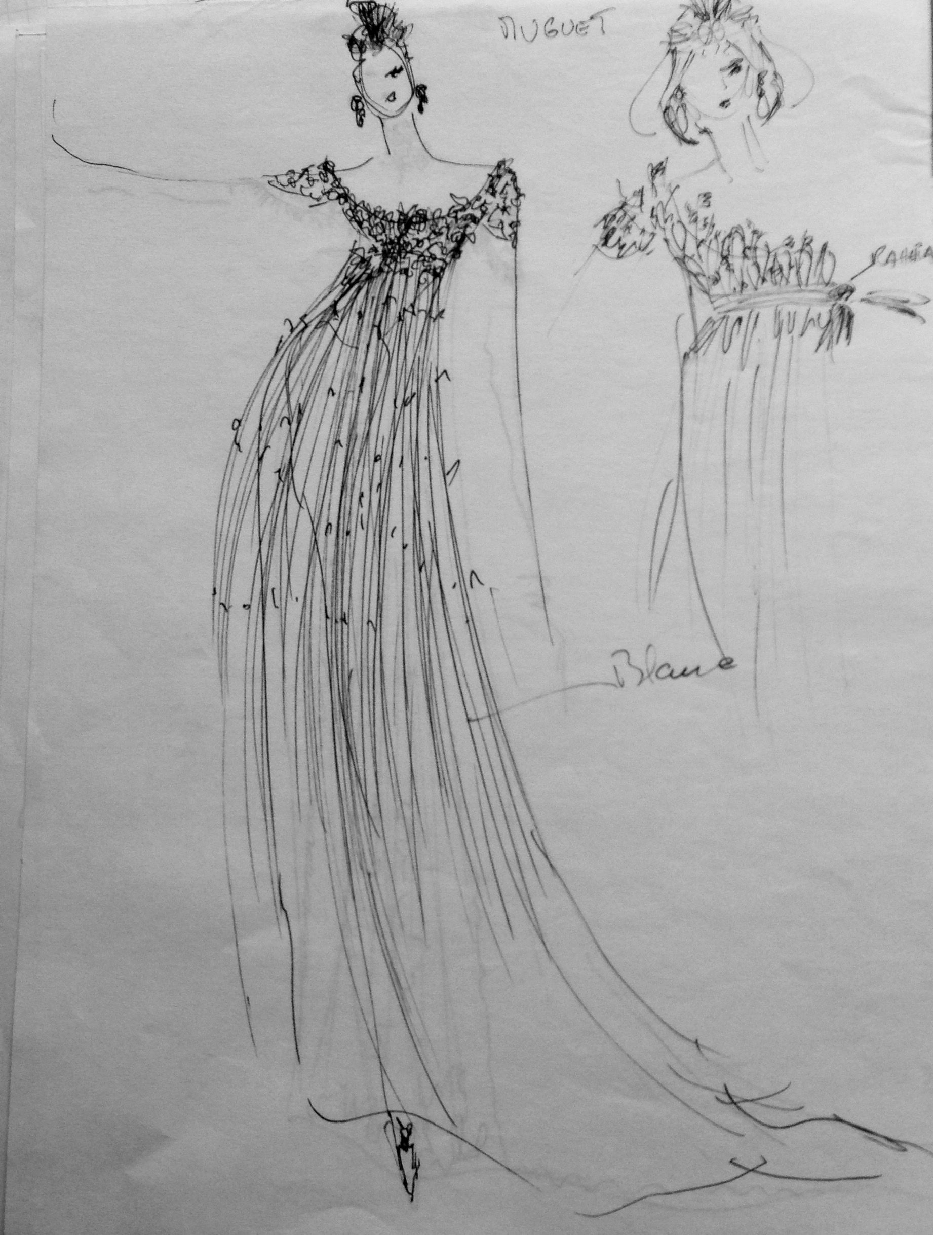 Projet de robe pour un Bal Masqué , le Muguet ....