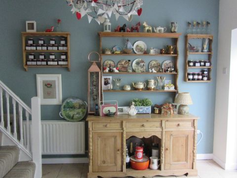 Antique pine plate rack u0026 sideboard from my collection of restored furniture and wall painted in Fu0026B Oval Room Blue. & Feature wall in my kitchen. Antique pine plate rack u0026 sideboard from ...