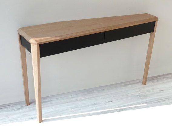 A dreuz travers console 3 pieds fix e contre un for Pieds de meuble en bois