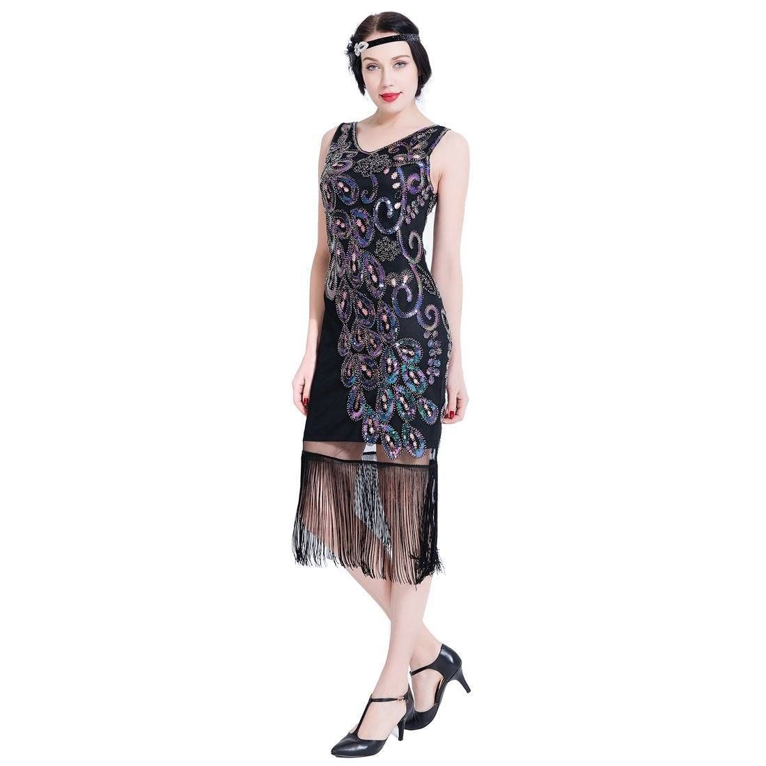 e85c0f3c565 Gatsby 1920s Flapper Dress Sequin Peacock Style Peaky Blinder Themed Party