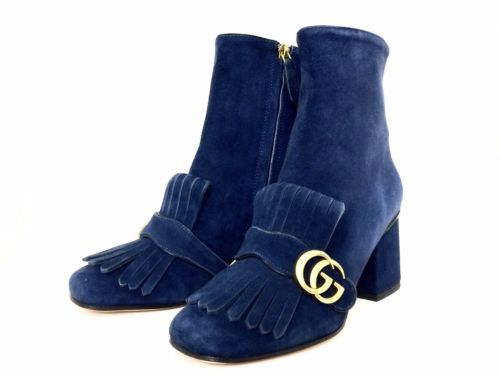 $1150 New Authentic Gucci Marmont Suede Fringe Woman's Boots US 9 Made in Italy