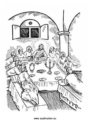 das Letzte Abendmahl / Pascha | Bibel-Ausmalbilder | Pinterest ...