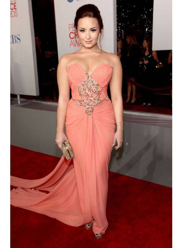 Elegant Celebrity Gowns Demi Lovato Red Dress