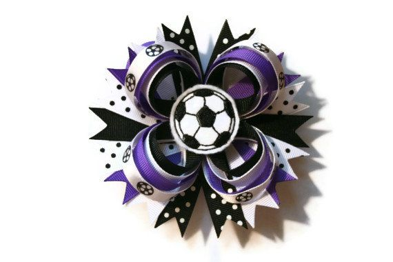 Go team! This customizable bow will be adorable for your little soccer player and can be made with your team colors or purchase it as shown