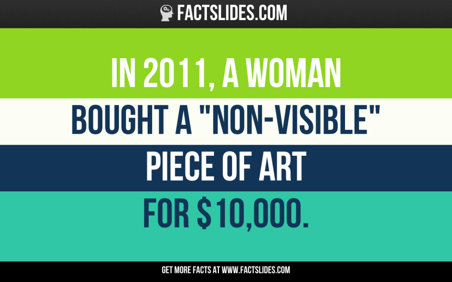 """137 Facts about Funny Stuff ←FACTSlides→ In 2011, a woman bought a """"non-visible"""" piece of art for $10,000."""