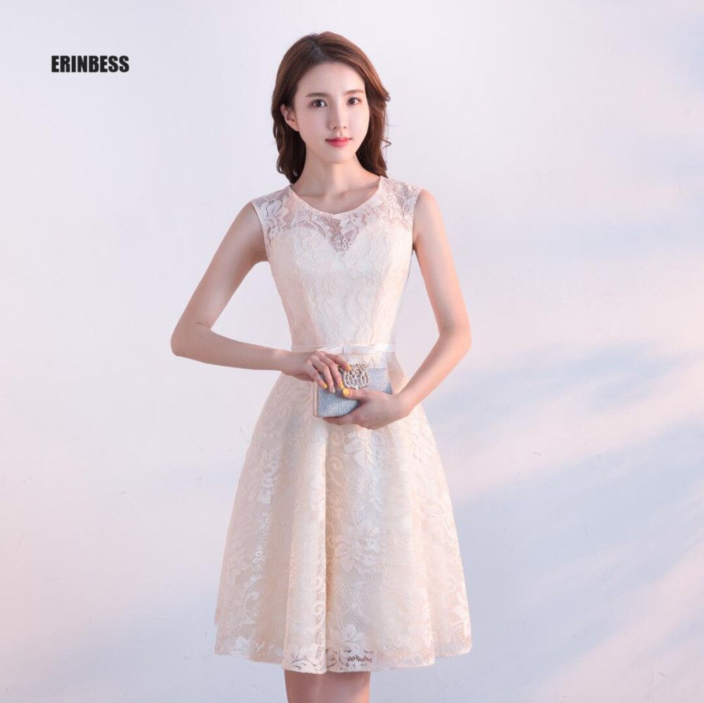 Click to buy ucuc new arrival light champagne lace prom dresses