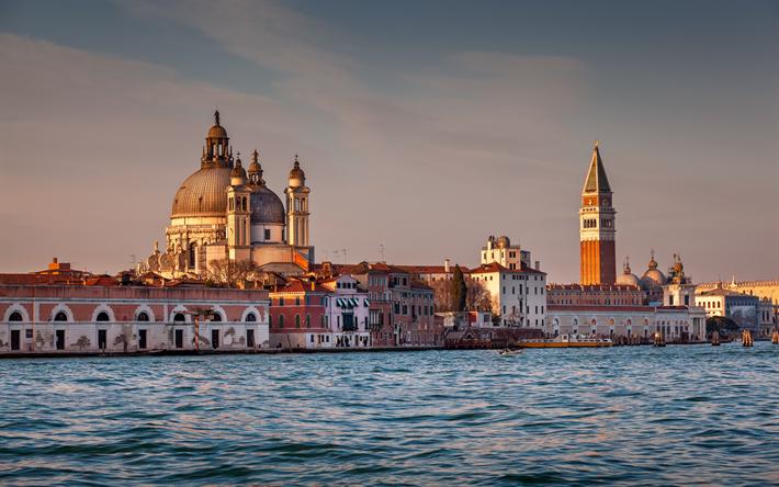 Lataa kuva Venetsia, Santa Maria della Salute, Kirkko, sunset, Venetsian nähtävyydet, arkkitehtuuri, Italia