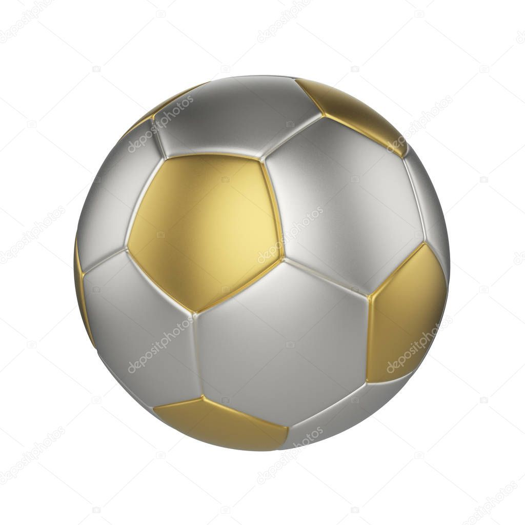 Soccer Ball Isolated On White Background Gold And Silver Football Ball