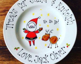Personalised Christmas Eve Plate Santa Rudolph Treats Plate Children S Plate Santa Cookie Pla Cookies For Santa Plate Christmas Plates