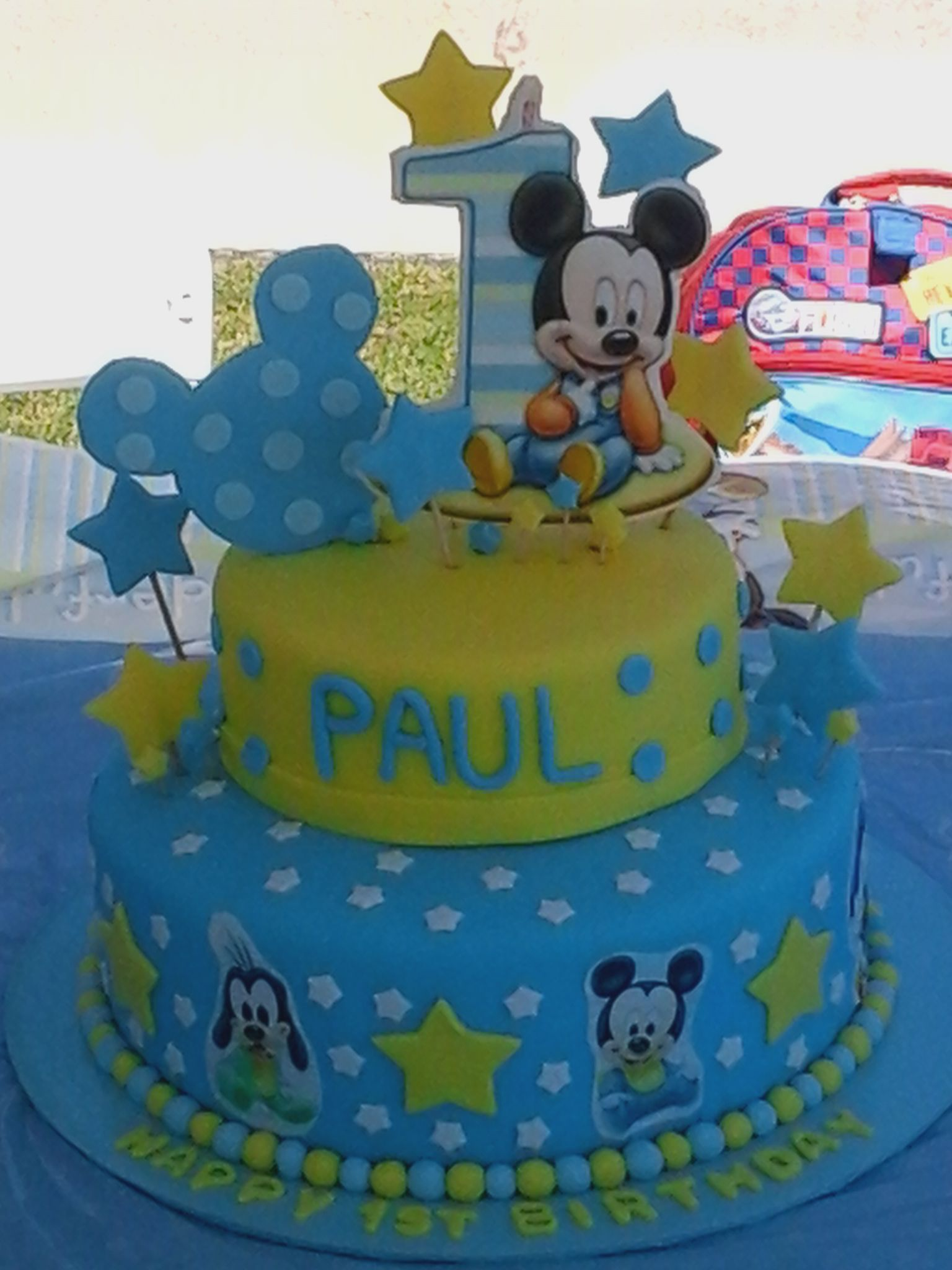 Amazing Baby Mickey Mouse 1St Birthday Cake By Estellas Cakery Mickey Funny Birthday Cards Online Alyptdamsfinfo