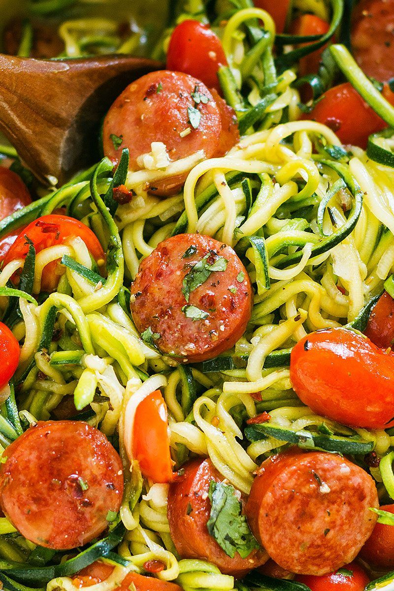 One-Pot Smoked Sausage and Zucchini Noodles images